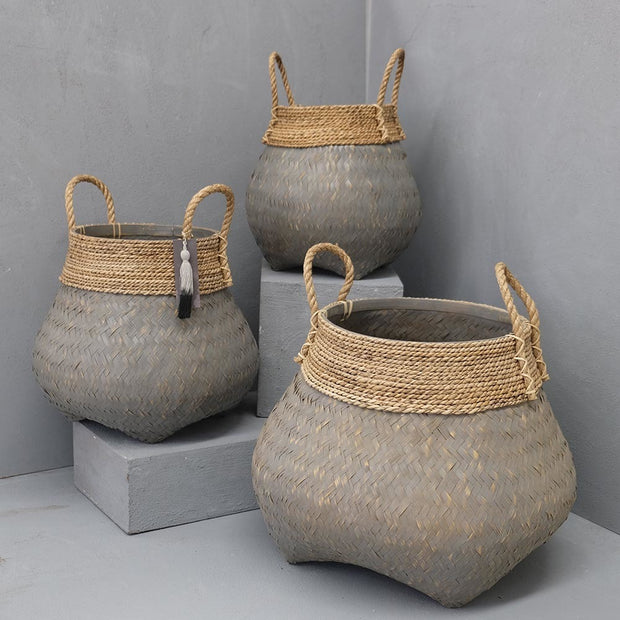 BAMBOO BASKET WITH SEAGRASS TRIM