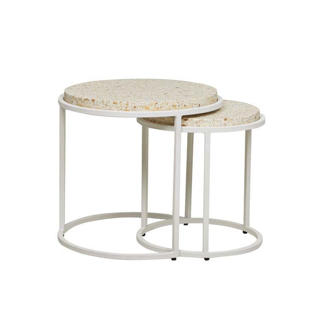 GLOBEWEST BONDI ROUND SET OF TWO SIDE TABLES