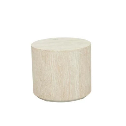 GLOBEWEST ELLE ROUND BLOCK SIDE TABLE - The Banyan Tree Furniture & Homewares