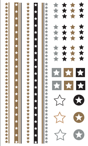 Stars, big tray, Gold, Silver and Black