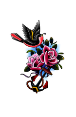 Bird, rose and anchor