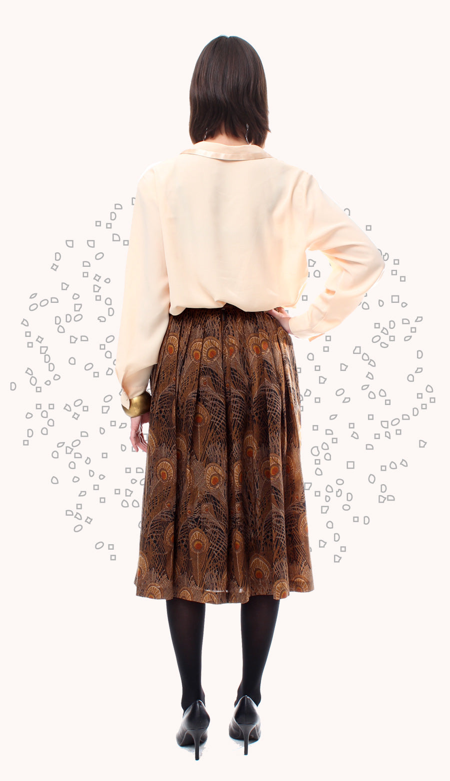 BROWN FEATHERS SKIRT