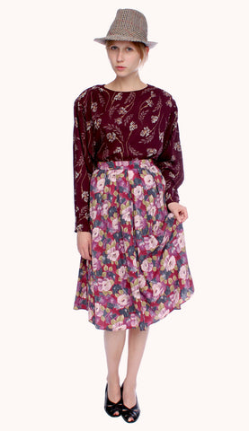BURGUNDY FLOWER BLOUSE