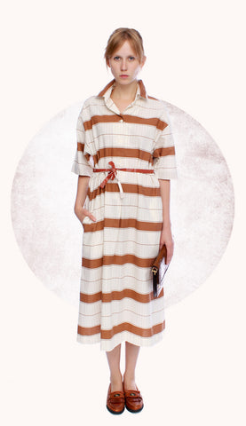 BROWN STRIPES DRESS