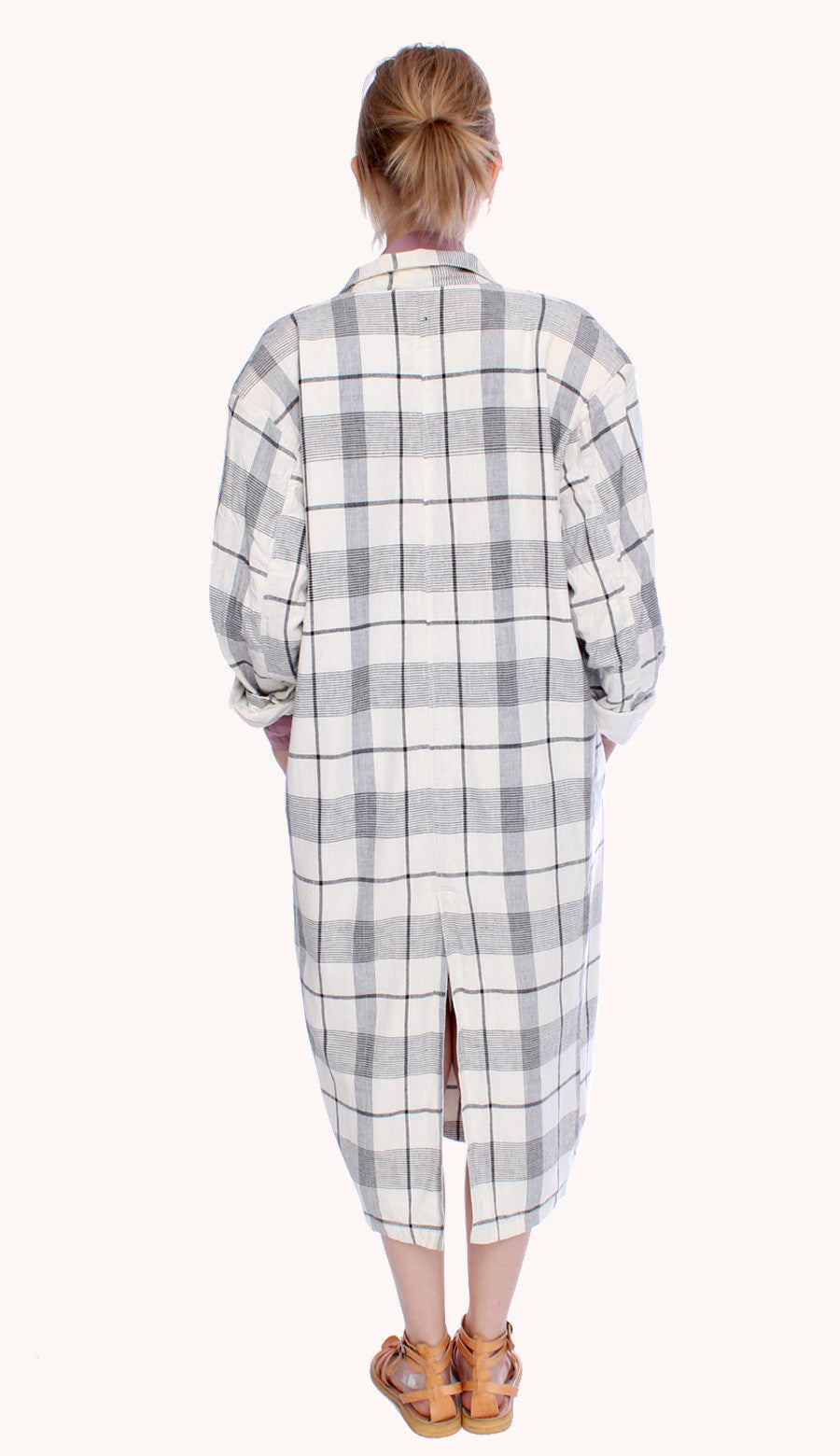 CHECKED WIDE COAT