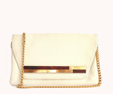 WHITE BROWN CLUTCH