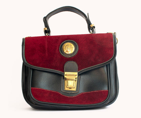 BLACK AND BURGUNDY BAG