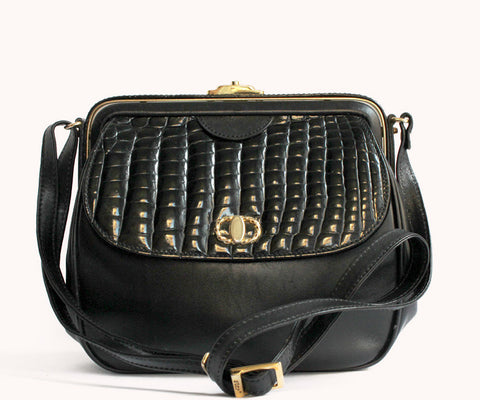 SMALL BLACK CROCO BAG