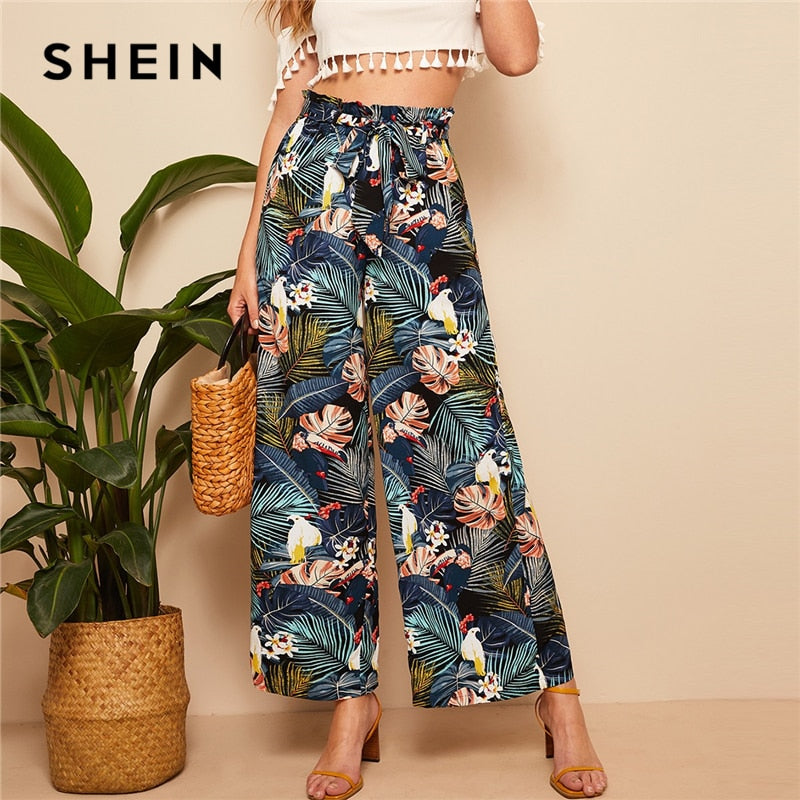 de7363c895f7 SHEIN Belted Frilled Waist Tropical Print Loose Long Palazzo Pants 2019  Spring Autumn Women Mid Waist