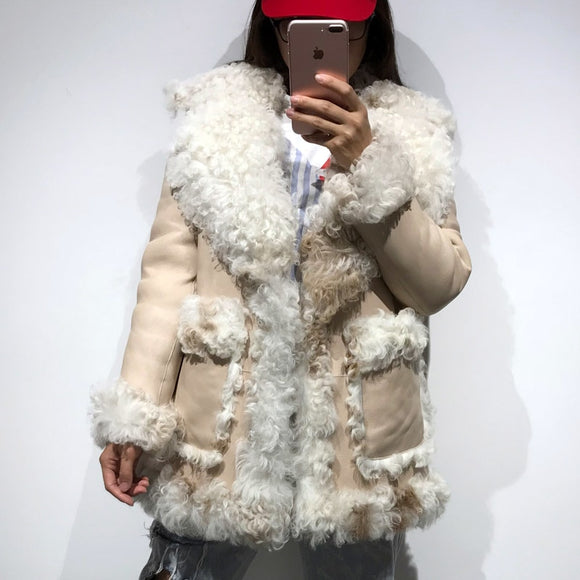 6aa684f1290ea2 Real Leather Lamb Skin Suede Shearling Jacket