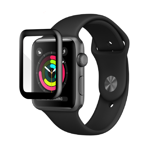 Apple Watch 42mm - SPARTAN SHIELDZ - Edge-to-Edge Black Trim Tempered Glass