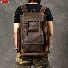 Load image into Gallery viewer, Genuine Leather Men's Backpack Large Capacity laptop bag.