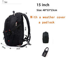 "Load image into Gallery viewer, Swiss Multifunctional 17.3"" Laptop Backpack sleeve case bag Waterproof USB Charge Port Schoolbag Hiking Travel bag"