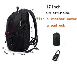 "Swiss Multifunctional 17.3"" Laptop Backpack sleeve case bag Waterproof USB Charge Port Schoolbag Hiking Travel bag"