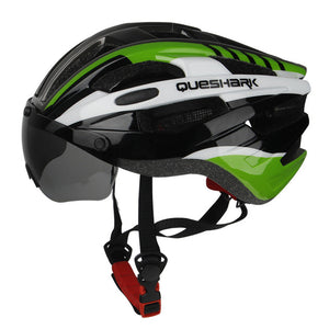 Windproof Bicycle Helmet  with Goggles Removable Lens