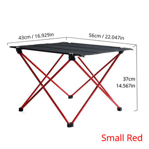 Brown aluminum folding table camping and chair