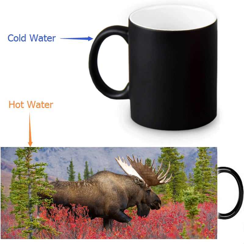 12 OZ  North American Moose Coffee  Mug,Heat Sensitive Color Changing Black To White Ceramic Mug