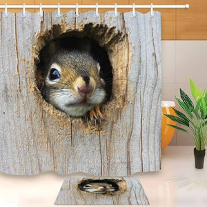 LB Cute American Red Squirrel in a Wood Hole Shower Curtain Mat Set Waterproof  For Kids Bathtub Decor