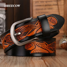 Load image into Gallery viewer, Handcrafted Eagle Shells Belt Leather Belts For Men  Quality Cowhide Luxury Strap