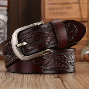 Handcrafted Eagle Shells Belt Leather Belts For Men  Quality Cowhide Luxury Strap