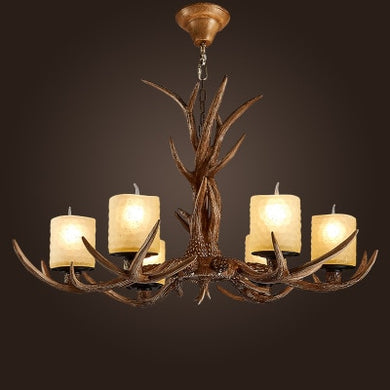 Europe Country 6 Heads  Chandelier Deer Horn Antler Glass Lampshade Decoration,