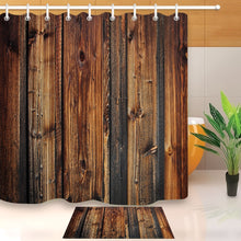 Load image into Gallery viewer, LB Rustic Wood Panel Brown Plank Fence Shower Curtain And Bath Mat Set Waterproof Decor