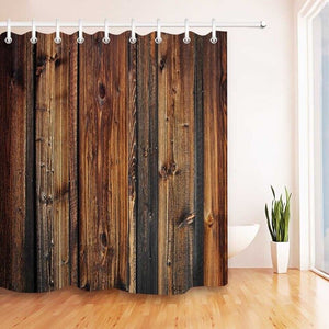 LB Rustic Wood Panel Brown Plank Fence Shower Curtain And Bath Mat Set Waterproof Decor