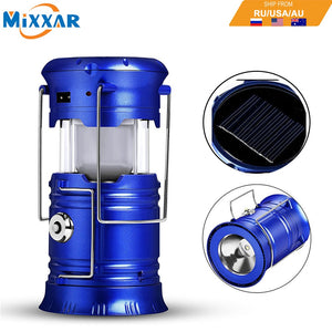 LED Camping Lantern Flashlights Collapsible Solar Tent Light