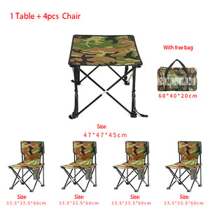 5 in 1 Camping Hiking Foldable Chair Table Set Fishing Picnic BBQ
