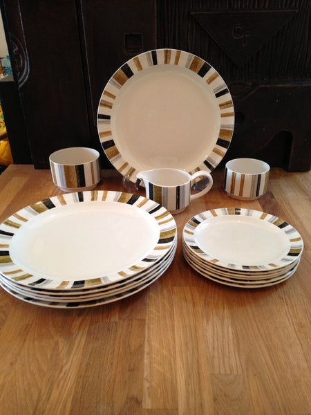 Quintessential Queensbury Stripes dinner plates side plates sugar bowls and milk jug - Wowie Zowie