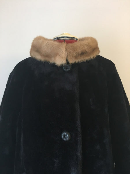Totally gorgeous 1960's chocolate faux fur coat with mink style collar.