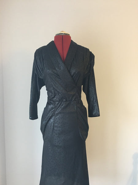 1970's stunningly chic leather look dress