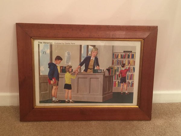 Delightful Child Educational Poster from 1968 'The Librarian' in a solid wood vintage frame - Wowie Zowie  - 3