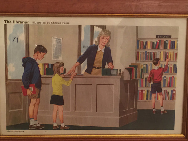 Delightful Child Educational Poster from 1968 'The Librarian' in a solid wood vintage frame - Wowie Zowie  - 2
