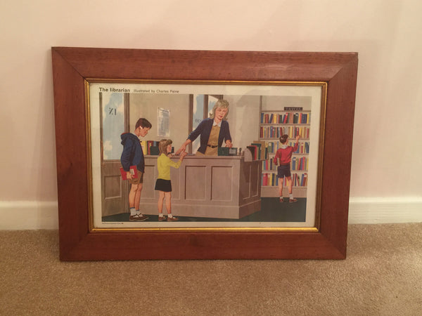 Delightful Child Educational Poster from 1968 'The Librarian' in a solid wood vintage frame - Wowie Zowie  - 1
