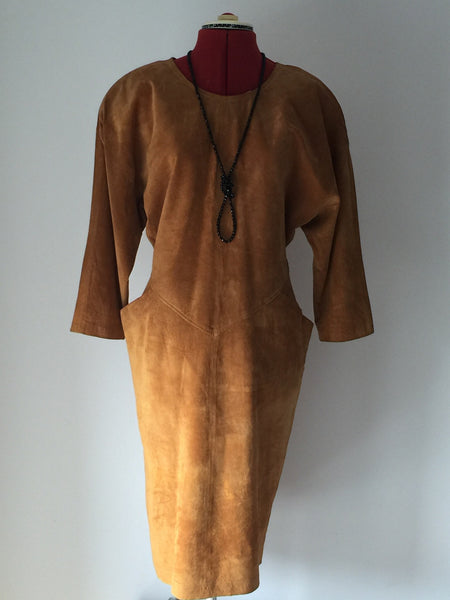 Super cool Suede Emily Daniell dress 1980's