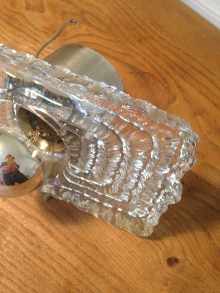 Crazy wonderful 1960s heavy patterned glass space age wall light with easy to replace chrome dipped bulb - Wowie Zowie  - 5