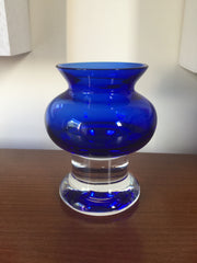 SALE - Was £30 Beautifully shapely cased midnight blue clear footed glass vase Riihimaki