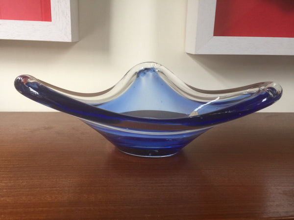 Vintage blue swedish afors triangular-shaped glass bowl with original sticker 1970s
