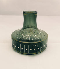 SALE - Was £10 Gorgeously green glass vase with perfectly printed raised pattern