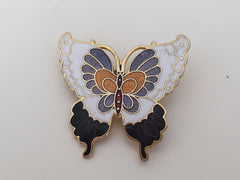 Delightfully decorated 1970s/80s colourful enamel butterfly brooch