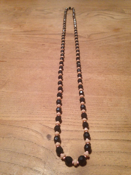 Oh so cute 1950s jet black with pale pink long lucite beads - Wowie Zowie  - 2