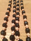 Oh so cute 1950s jet black with pale pink long lucite beads - Wowie Zowie  - 1