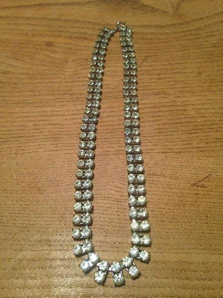 Delightfully double diamante rhinestone 1970s slinky sparkling necklace - Wowie Zowie  - 3
