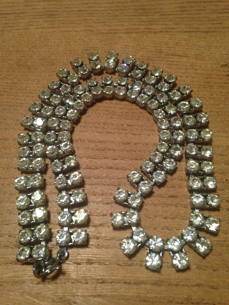 Delightfully double diamante rhinestone 1970s slinky sparkling necklace - Wowie Zowie  - 1