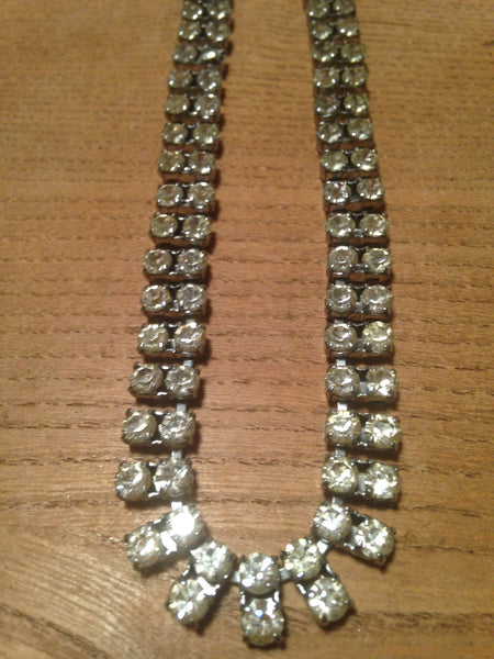 Delightfully double diamante rhinestone 1970s slinky sparkling necklace - Wowie Zowie  - 2