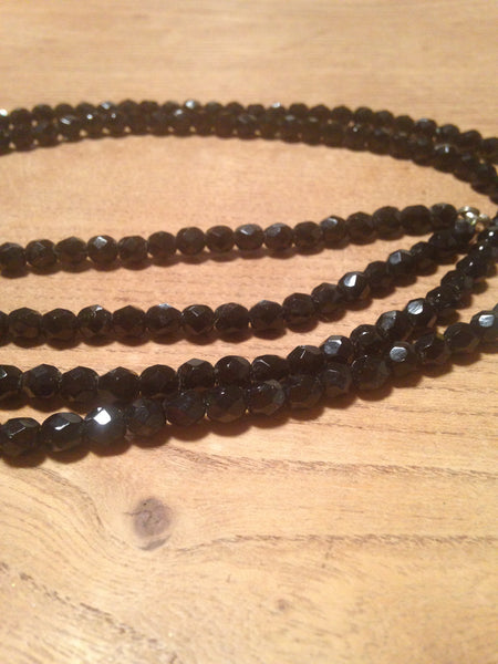 Beautifully black 1950s/60s French jet black twinking cut glass long deco beads - Wowie Zowie  - 1