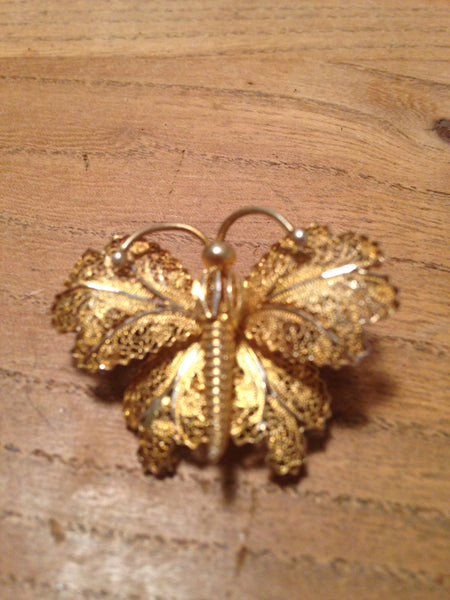 Perfectly Portugese 1970s sterling silver gold plated fancy filigree butterfly brooch - Wowie Zowie  - 2