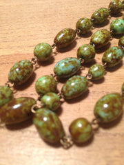 Marvellously mottled green blue and brown 1960s long glass beads with delicate gold chain links - Wowie Zowie  - 1