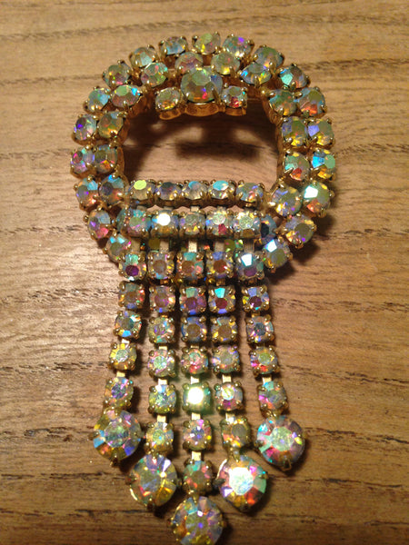 Magnificently sparkly 1960s iridescent diamante drop brooch - Wowie Zowie  - 1